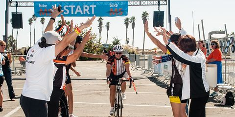 Cyclist completing charity ride for MS research