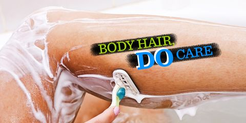 woman shaving leg with razor