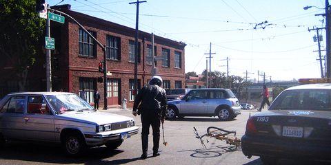 police evaluating car bike crash incident