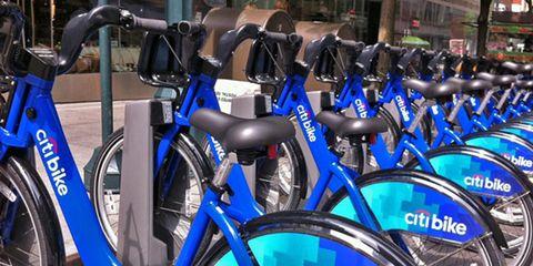 citibike: photo of a bank of citi bikes