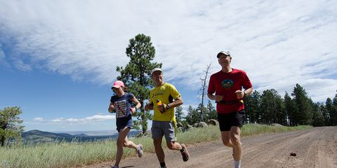 Photo of Sara Wagner, Terry Sullivan, and Dave Eitrheim running at Rob Krar's Ultra Camp