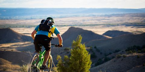 Mountain biking with a helmet