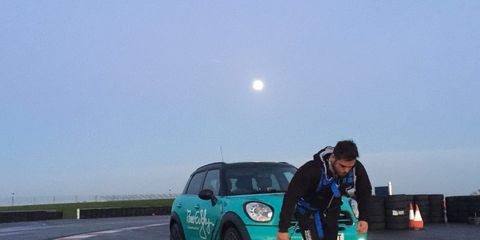 Ross Edgley completed a marathon while pulling a car.