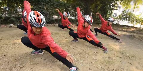 These nuns practice kung fu for self-defense and as a method of meditation.