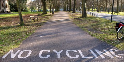 no cycling sign on park path