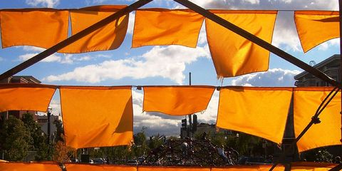 orange flags in the wind