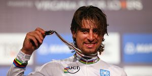Cyclist Peter Sagan at Richmond Worlds with Medal
