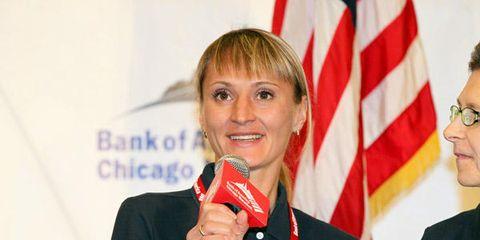 Shobukhova talks at Chicago Marathon 2010
