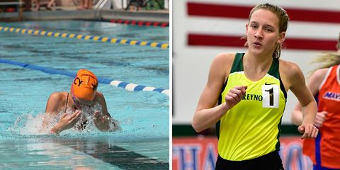 Photos of Anna Vess swimming and running