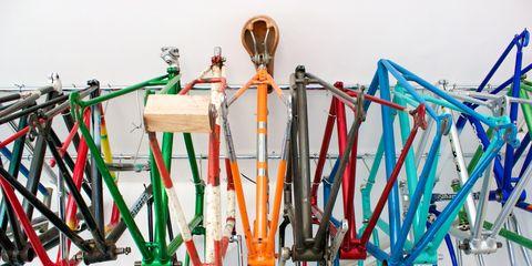 Bike frames hanging in bike shop