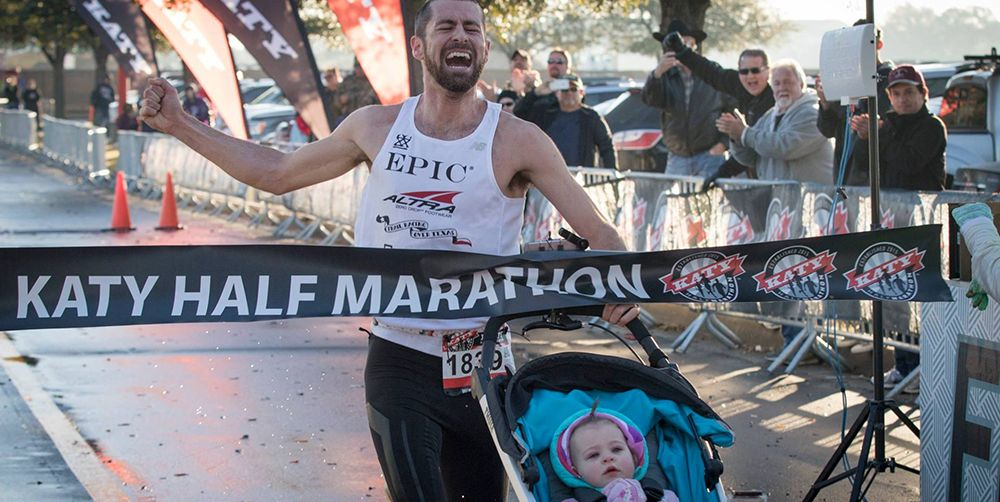 Calum Neff wins the Katy Half Marathon pushing a stroller