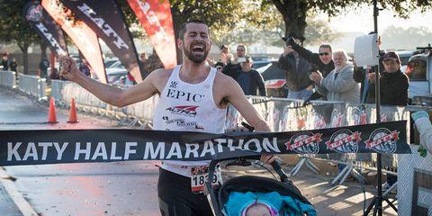 Calum Neff wins the Katy Half Marathon pushing a stroller