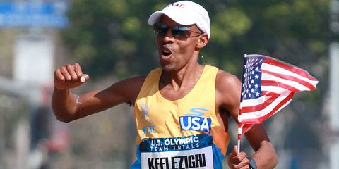 Meb Keflezighi finishes second at the 2016 Olympic Marathon Trials.