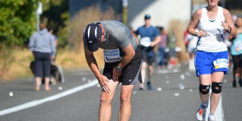 Injured leg in marathon.