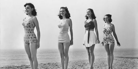 A vintage photo of tall women.