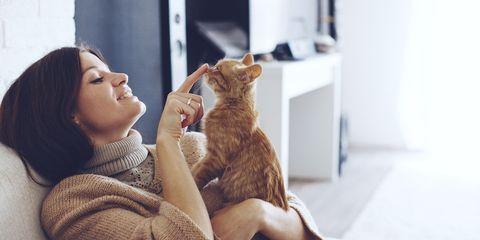 woman holding orange tabby cat