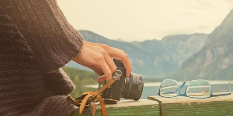 A woman taking a great picture.