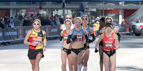 The women's lead pack at the 2012 Olympic marathon trials