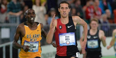 Ryan Hill wins the 3,000-meter national indoor championship.