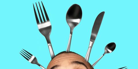 man with silverware sprouting from his head