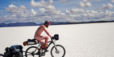 cyclist desert naked bike ride