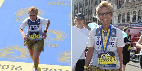 Nancy Eaton at the Boston Marathon