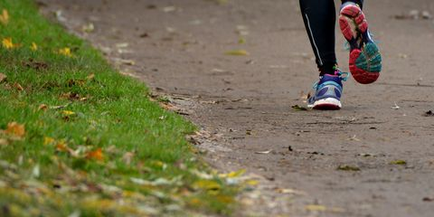 Running shoes in action.