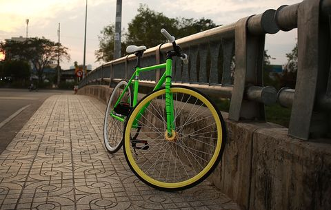 A fixed gear bicycle