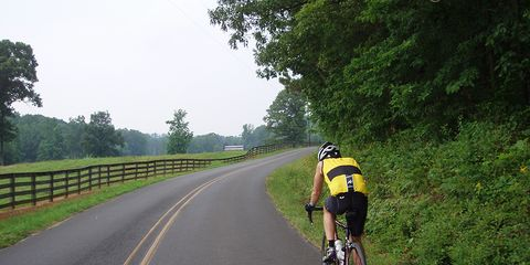 A cyclist on a country road.