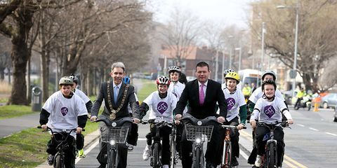 Members of Ireland's Labour Party take to the streets by bike