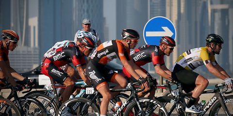Pro cyclists on disc-equipped road bikes at the Tour of Qatar