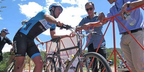 Zack Allison with Stumpjumper and bloody knee at Tour of the Gila