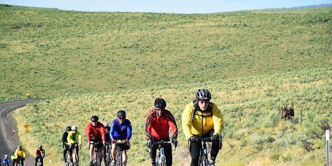 cyclists riding uphill in Oregon