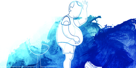 illustration of overweight man weighing himself after a run
