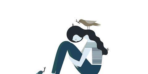 sad girl illustration