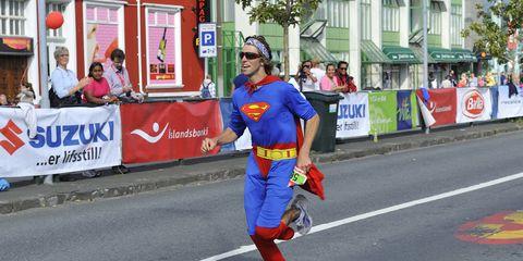 Superman running.