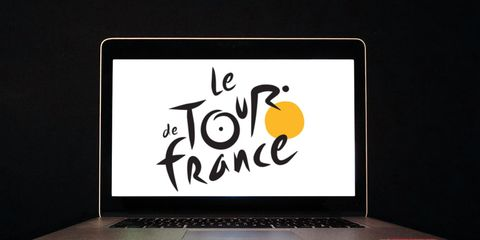 Computer with Tour de France on the screen.