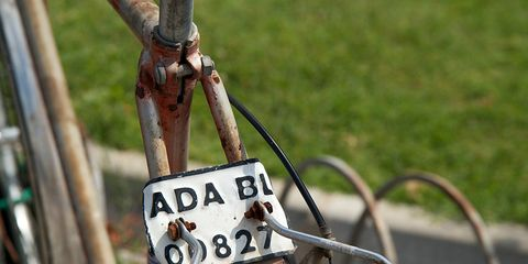 A bicycle license plate.
