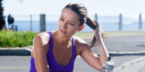 runner pondering her next move