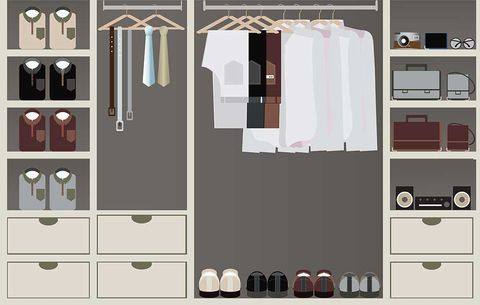 Closet organzation tips men 39 s health - How to organize clothes without a closet ...