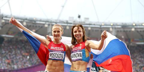 Poistogova and Savinova at 2012 Olympics