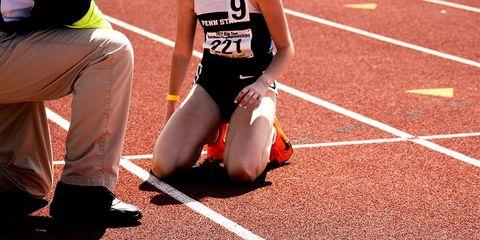 A runner collapsed