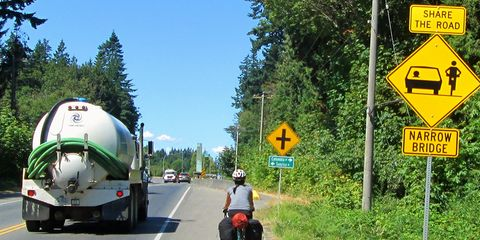 A cyclist near a Share the Road sign.
