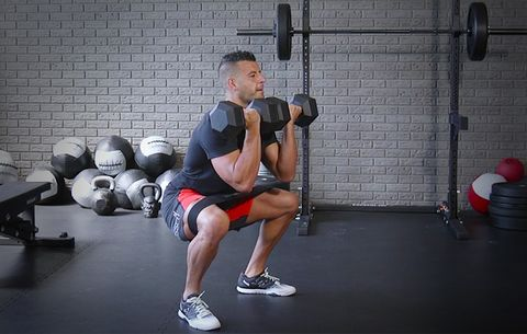 How to Do a Double Dumbbell Front Squat With Hip Circle