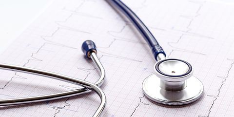 A heart rate chart and a stethoscope.