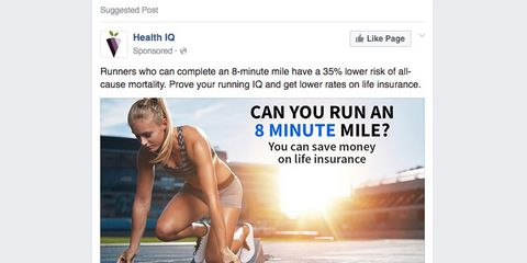 Life insurance ad in Facebook feed