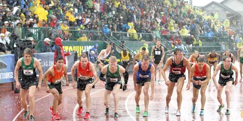 The start of the men's 10,000 meters at the 2012 Olympic Trials