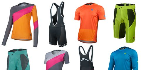 Pactimo's Apex mountain bike collection for men and women is light, simple, and colorful