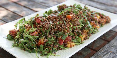 Quinoa peach arugula salad
