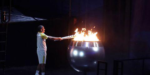 Vanderlei Lima lights the Olympic cauldron